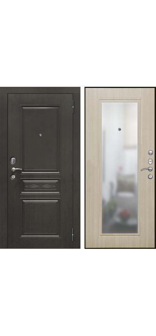 Дверь мет. SD Prof-10 Троя-Зеркало Светлый дуб