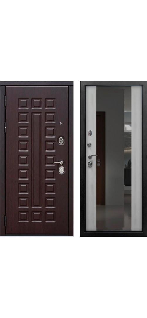 Дверь мет. SD Prof-5 Сенатор зеркало Беленый дуб